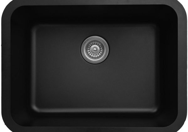 Q-320-BL Single Bowl Quartz Kitchen Sink - Black