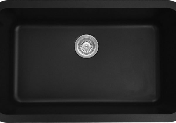 Q-340-BL Large Single Bowl Quartz Kitchen Sink - Black