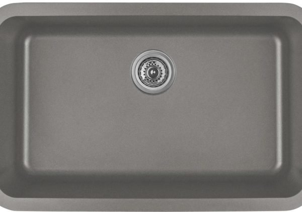 Q-340-CN Single Bowl Quartz Kitchen Sink - Concrete