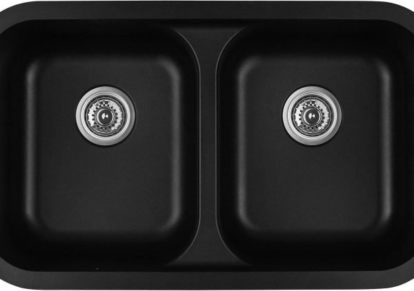 Q-350-BL Double Equal Bowl Quartz Kitchen Sink - Black