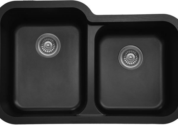 Q-360R-BL Large/Small Bowl Quartz Kitchen Sink - Black