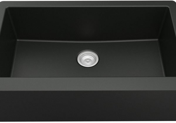 QA-740-BL Bowl Quartz Farmhouse Kitchen Sink - Black