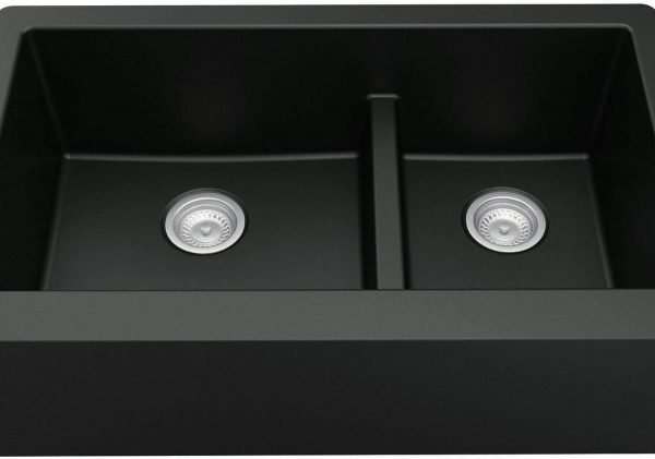 QA-760-BL Quartz Farmhouse Kitchen Sink – Black